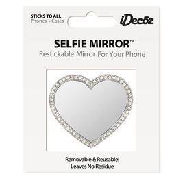 iDecoz Cubic Zirconia Heart Shaped Selfie Mirror - Silver