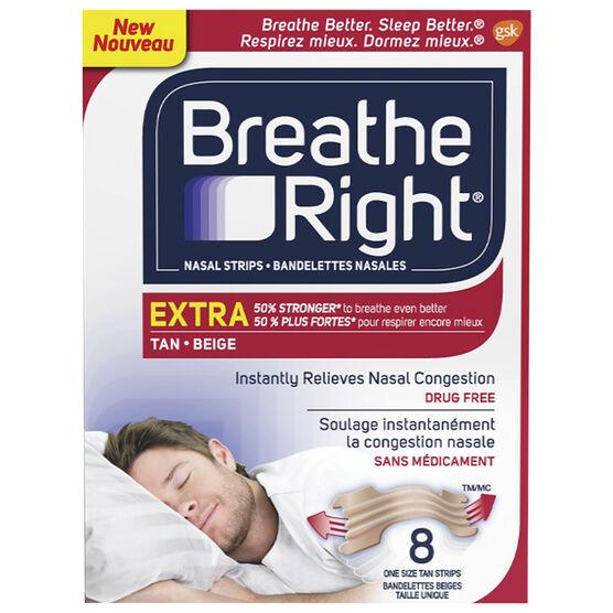 Breathe Right Nasal Strips Extra - Tan - 8's