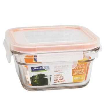 Glasslock Square Oven Safe - Orange - 405ml