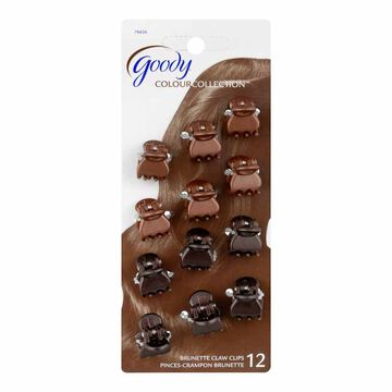 Goody Colour Collection Mini Claw Clips - Brown - 12 pack