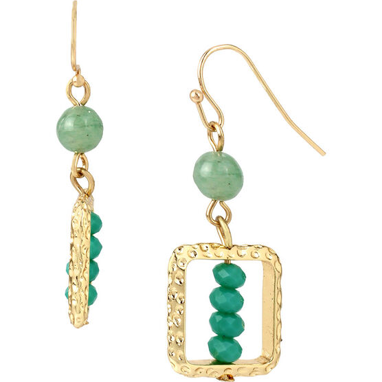 Haskell Square Bead Earrings - Mint/Gold
