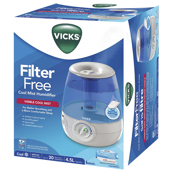 Vicks 4.5L Filter Free Cool Mist Humifier - V4600-CAN