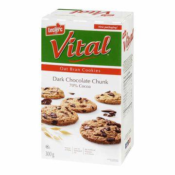 Leclerc Vital Cookies - Dark Chocolate Chunk 70% Cocoa & Oat Bran - 300g