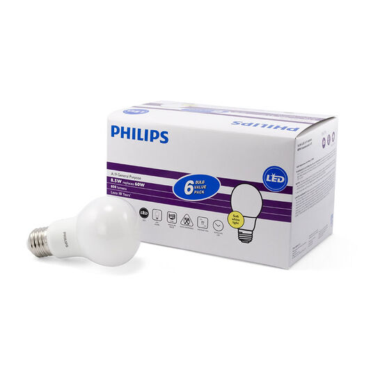 Philips A19 LED Light Bulb - Soft White - 8.5w/60w - 6 pack