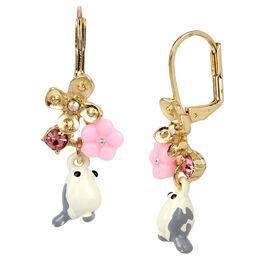 Betsey Johnson Bird Drop Earrings - White/Gold