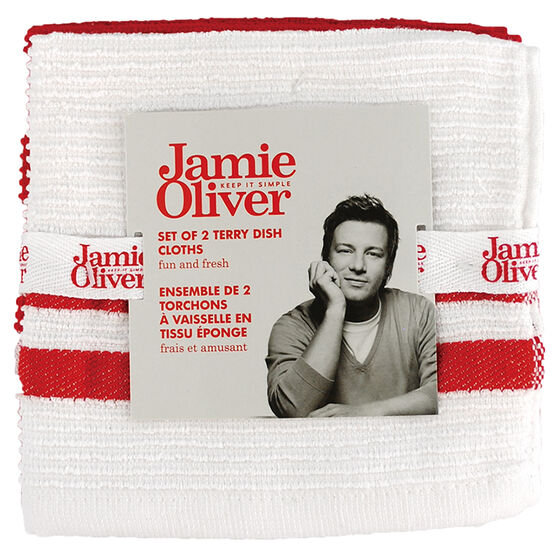 Jamie Oliver Ribbed Terry Dish Cloth - Berry - 2 pack