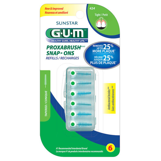 G.U.M. Proxabrush Snap-Ons Refills - Tight - 6's