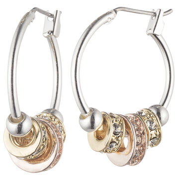 Nine West Small Hoop Slider Earrings - Tri-Tone