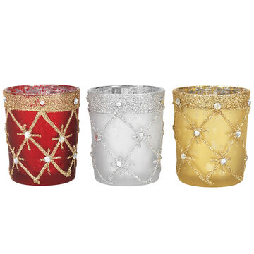 Danson Glass Candle Holder - Red/Gold/Silver - Assorted