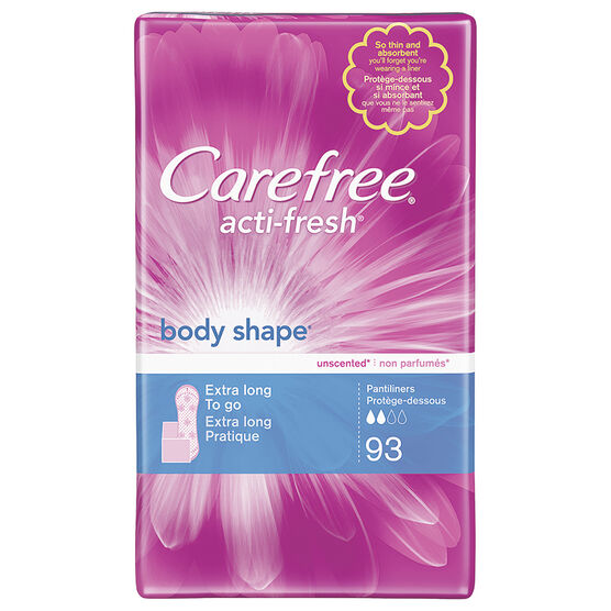 Carefree Acti-Fresh Body Shape Pantyliners - Extra Long - 93's