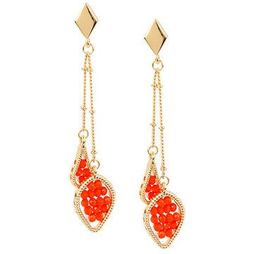 Haskell Double Drop Earrings - Orange/Gold
