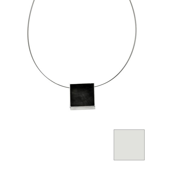 Merx Reversible Square Resin Shell Wire Necklace - Charcoal/White