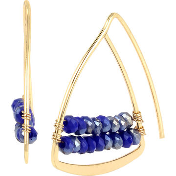 Haskell Beaded Triangle Earrings - Blue/Gold