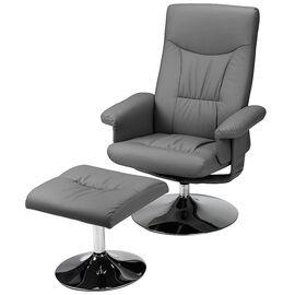 London Drugs Polyurethane Chair with Ottoman - Dark Grey