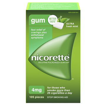Nicorette Plus Coated Gum with Whitening - Ice Mint - 4mg Extra Strength - 105's