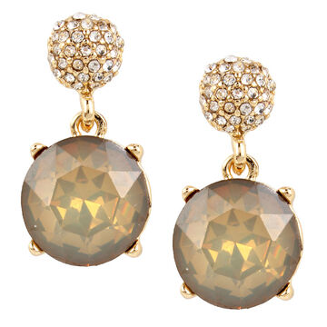 Haskell Stone Drop Earrings - Grey/Gold