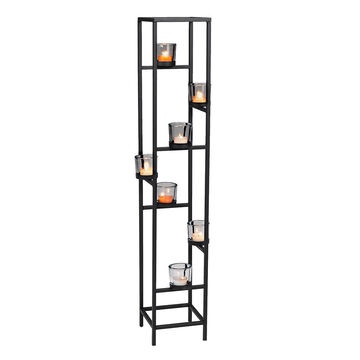 London Drugs 7 Cup Metal Candle Holder - Black - 16 x 16 x 91cm
