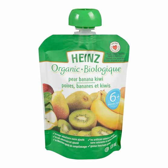 Heinz Organic Baby Food Pouch - Pear/Banana/Kiwi - 128ml