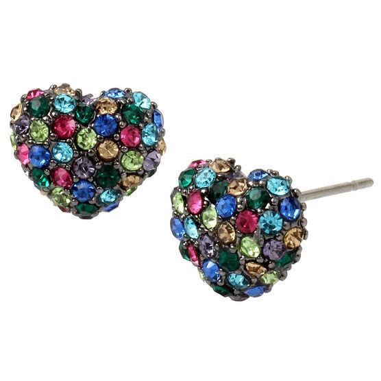 Betsey Johnson Confetti Heart Stud Earrings - Multi