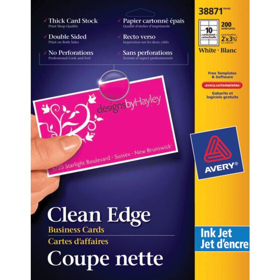 Avery Two-Side Printable Clean Edge Business Cards for Inkjet Printers - 150 cards