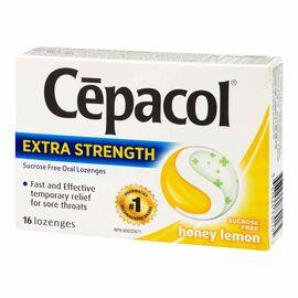 Cepacol Extra Strength Oral Lozenges - Sucrose Free - Honey Lemon - 16's