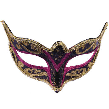 Halloween Masquerade Half Mask - Black/Pink