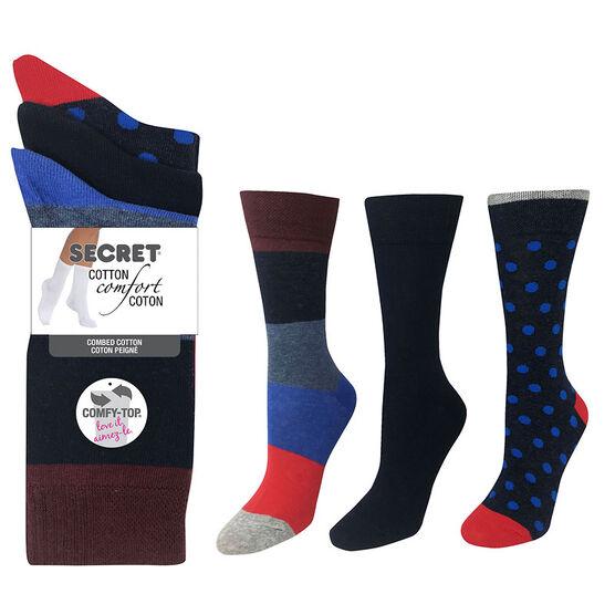 Secret Cotton Comfort Fashion Socks Crew Cut - Floral - 3 pair