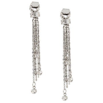 Haskell Chain Tassel Earrings - Rhodium
