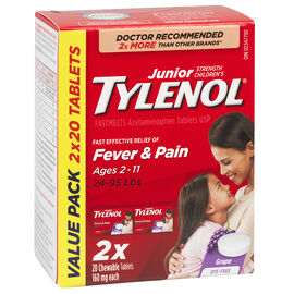 Tylenol* Junior Children's FastMelts Chewable Tablets - Grape - 2 x 20's