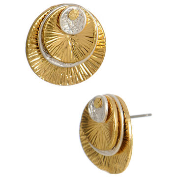 Kenneth Cole Stacked Disc Stud Earrings - Silver & Gold Tone