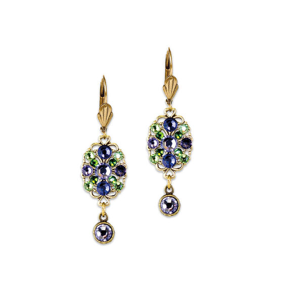 Anne Koplik Lavender Oval Filigree Drop Earrings
