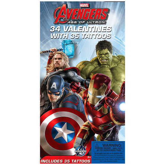 Avengers Valentines with Temporary Tattoos - 34s - 4152905