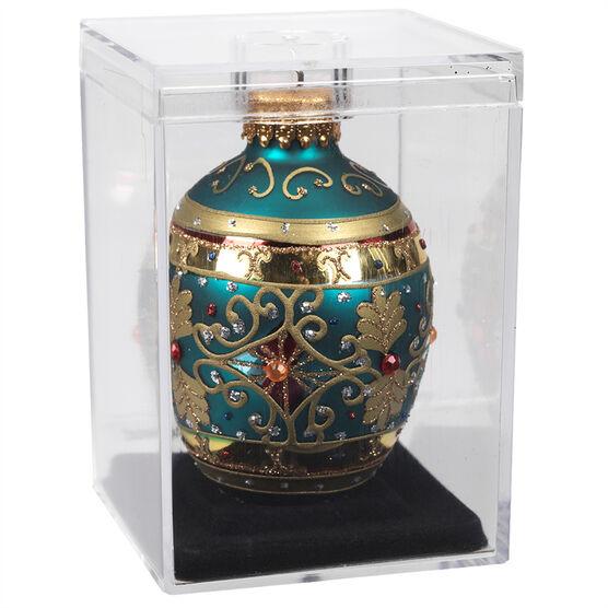 Winter Wishes Faberge Glass Egg - XLD2016-37UFOB