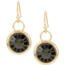 Haskell Round Drop Earrings - Black Diamond/Gold