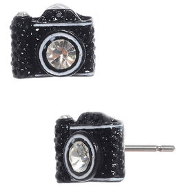 Betsey Johnson Camera Stud Earrings - Black