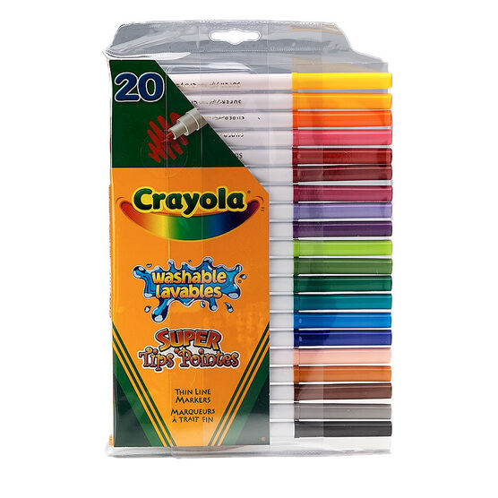 Crayola Washable Super Tips Thin Line Markers - 20 pack