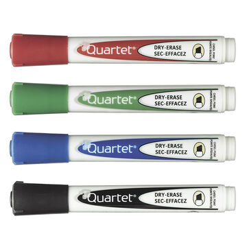Quartet Low Odour Markers - 4 pack - Assorted