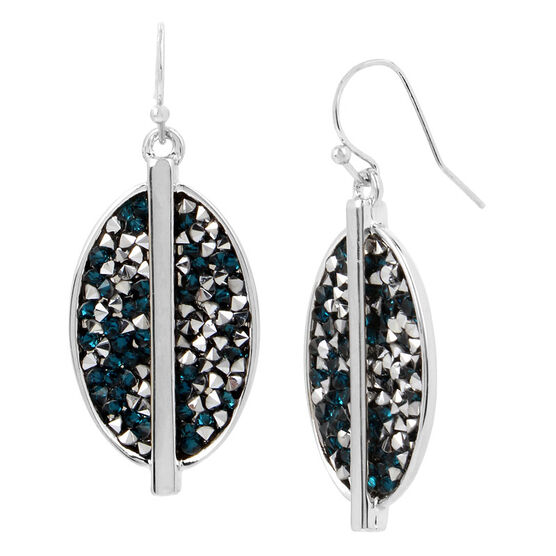 Kenneth Cole Oval Earrings - Teal/Silver