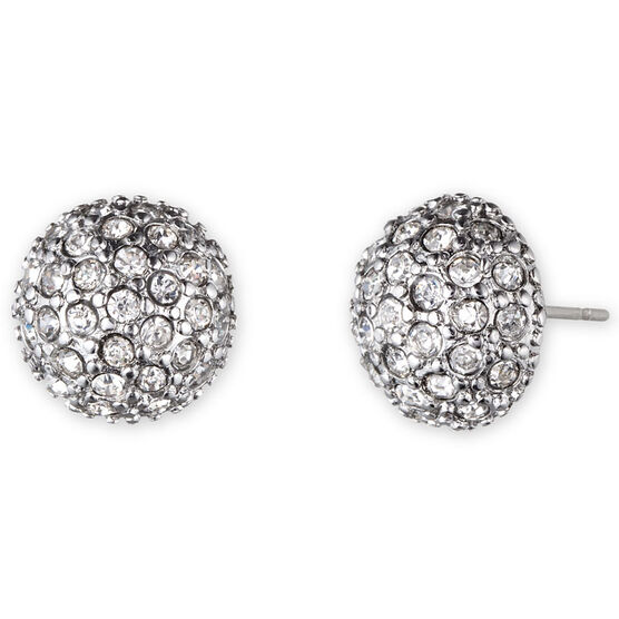Lonna & Lilly Pave Domed Button Earrings - Silver Tone