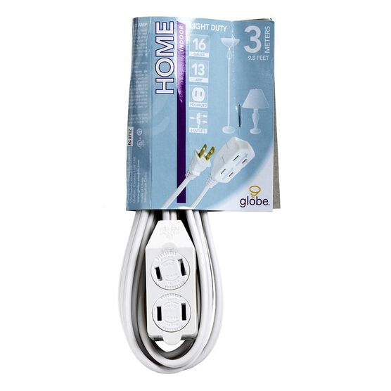 Globe 3 Outlet Extension Cord - 3M - White