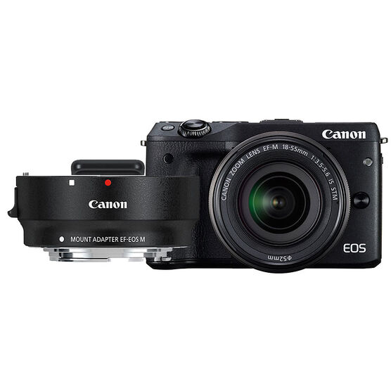Canon EOS M3 with EF-M 18-55mm IS STM Lens and EF-EOS M Mount Adapter