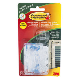 Command™ Outdoor Light Clips - Clear - 16's