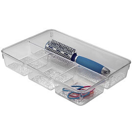 InterDesign Bathroom Vanity Divided Drawer Tray - Clear