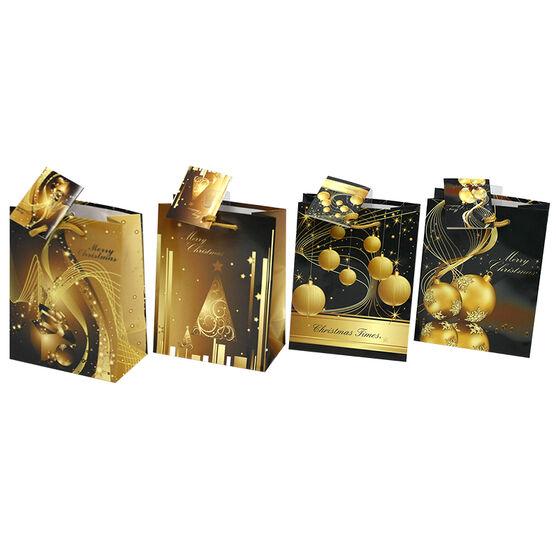 Christmas Small Gold & Black Gift Bag - Assorted
