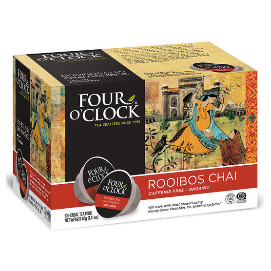 Four O'Clock Organic Caffeine Free Tea - Rooibos Chai - 10 Servings