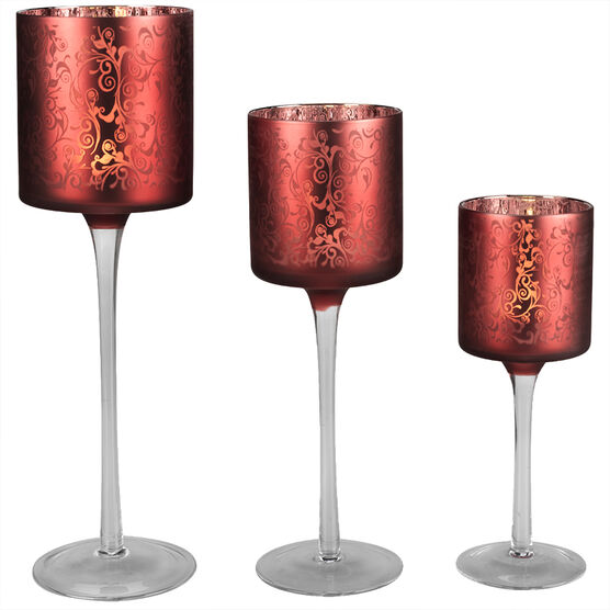 London Drugs Laser Candle Holder - Red - Set of 3