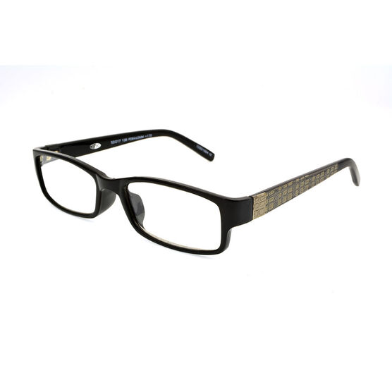 Foster Grant Derick Reading Glasses with Case - Black/Gold - 2.00