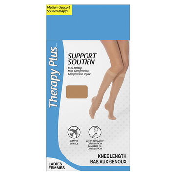 Therapy Plus Medium Support Ladies Knee High Socks - Beige - One Size