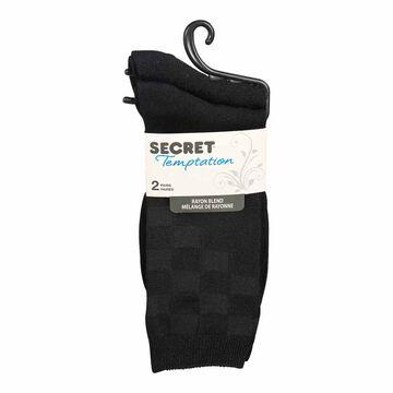 Secret Temptation Crew Socks - Square Up - Black - 2 Pairs
