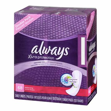 Always Pantiliner Max Protection Dri-Liners - Unscented - 68's
